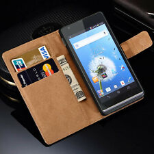 Luxury Genuine Real Leather Flip Case Wallet Stand Cover For Sony Xperia Z5 Z4 X