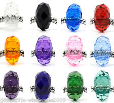 W09 Faceted Acrylic Beads Fit Charm Bracelet 15x8mm M0032