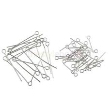 MagiDeal 100Pcs Eye Pins Jewelry Finding Connectors Silver Plated 17/30mm