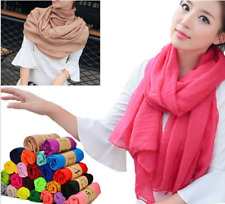 Fashion Womens Solid Color Long Crinkle Voile Soft Scarf Wrap Shawl Stole Scarf