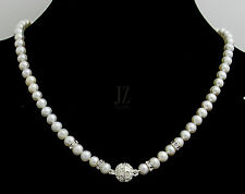 Freshwater Pearl Necklace with Rondelle Beads and Magnetic Rhinestone Clasp Set.
