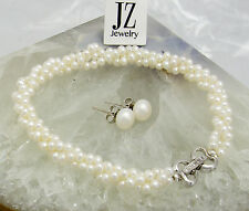 Freshwater 3-Strand Twist Pearl Bracelet Sterling Silver Heart Crystal Clasp.