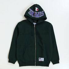 Supreme FW17 Champion Arc Logo Zip Up Sweatshirt hooded camp Logo box cap Green