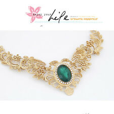 Women Fashion resin huge Gem Hollow Out Metal Flower Choker Necklace
