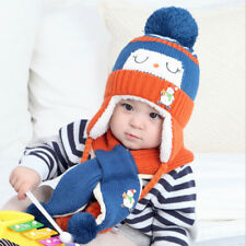 NEW 2Pcs Toddler Baby Snowman Winter Warm Hat Knitted Wool Scarf Cap