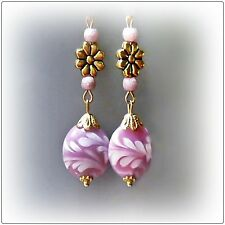 Earrings Pink, Lampwork and antique gold long drop - clip on or pierced