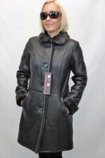 BROWN 100% REAL GENUINE SHEEPSKIN SHEARLING LEATHER COAT JACKET BUTTONS XS-6XL