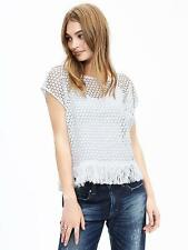 NEW Banana Republic Womens White Geo Cut Out Tee Shirt Top Fringe S XL $89 NWT