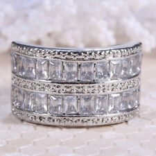 4.7ct White Topaz 925 Silver Jewelry Wedding Engagement Band Ring Size 6-10