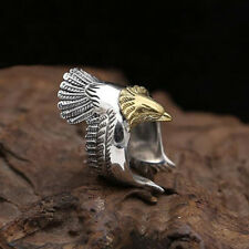 Stainless Steel Men Ring Fashion Retro Eagle Wings Open Ring 1 Pcs