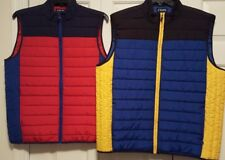 Chaps NEW Men's Red & Navy,Yellow & Blue  Full Zip Light Quilted Puffer Vest