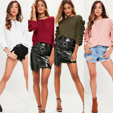 Ladies T-Shirt New Womens Fashion Frill 3/4 Sleeve Casual Loose Tops Blouse