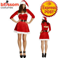 CA473 Ladies Fever Santa Babe Christmas Xmas Fancy Dress Up Costume Hat Outfit