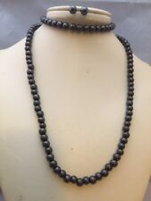 Magnetic Hematite Necklace Bracelet/Earring Set Healing Pain Focus Willpower 6mm
