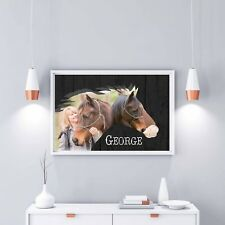 HORSE PHOTO ART WITH YOUR PHOTOS PERSONALISED GIFTS 4 XMAS 1-5 PHOTO OPTIONS