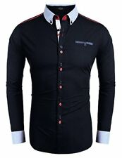 Coofandy Men Fashion Slim Fit Dress Shirt Embroidery Casual Button Down Shirts