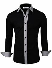 Tom's Ware Mens Casual Slim Fit Contast Lining Button Down Dress Shirts