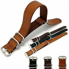 18/20/22MM Genuine Leather Wrist Watch Band Strap Style Wristband Metal Buckle