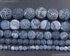 """Matte Frosted Black Fire Crackle Agate Gemstones Round Beads 6mm 8mm 10mm 15"""""""