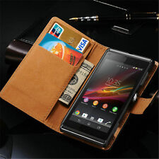 Luxury Genuine Real Leather Flip Case Wallet Stand Cover For Sony Xperia Phone