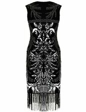 PrettyGuide Women's 1920s Gatsby Art Deco Sequin Beads Black Flapper Dress