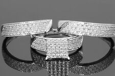 14K White Gold Fn Round Cut Diamond Wedding His & Hers Engagement Trio Ring Set