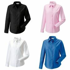Russell Collection Ladies/Womens Long Sleeve Easy Care Oxford Shirt