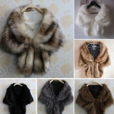 Women's Elegant Bridal Wedding Faux Fur Long Shawl Stole Wrap Shrug Scarves New