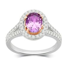 Sterling Silver Create Amethyst and White Sapphire Ring by Unique Design