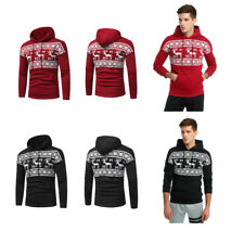 Mens Christmas Elk Printed Hoodie Sweatshirt Jumper Sweater Pullover Tops Coat