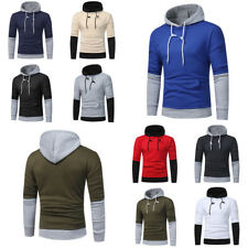 Mens Stylish Casual Splice Slim Fit Pullover Hooded Hoodies Coats Jackets Tops