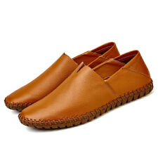 Mens Driving Flats Shoes Casual Cowhide Moccasins Slip On Loafers Shoes Size 10