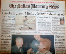 1995 Dallas TX hdl newspaper New York Yankee baseball star MICKEY MANTLE is DEAD