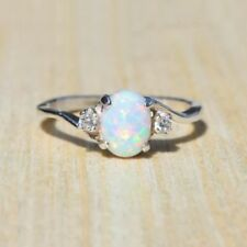 2.3Ct Opal Women 925 Silver Ring Fashion Gift Wedding Party Ring Size 5-11