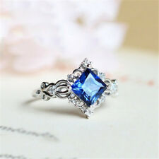 Women 925 Silver 2.4Ct Blue Sapphire Fashion Wedding Gift Party Ring Size 6-10