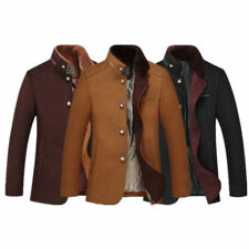 Men Wool Trench Coat Warm Jacket Pea Coat Winter Button Jacket Outwear