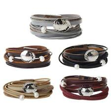 Men Women Punk Multilayer Leather Charm bracelet Wrap Wristband Cuff Bangle