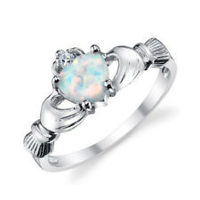 1ct White Fire Opal 925 Silver Wedding Engagement Claddagh Ring Gift Size 6-10