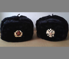 RUSSIAN USHANKA WINTER FUR HAT MILITARY STYLE + Hat Army Badge