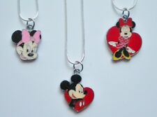 DISNEY MINNIE OR MICKEY MOUSE ENAMEL PENDANT NECKLACE 925 STERLING SILVER CHAIN