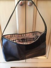 Burberry Tote Bag House nova Check plaid Black Leather suede Handbag purse