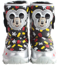 Disney Mickey Mouse Boys Girls Funny Hand Light Up Winter Warm Black Snow Boots