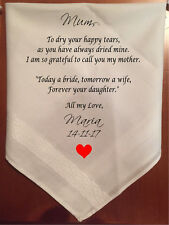Today a Bride, tomorrow a wife Mother of the Bride Personalised handkerchief