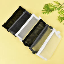 Clear Exam Pencil Case S/L Transparent Simple Mesh Zipper Stationery Bag School~