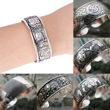 Tibetan Silver Plated Elephant Tibet Totem Bangle Jewelry Cuff Wide Bracelet2017