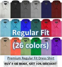 NWT Omega MENS Solid Long Sleeve Dress Shirt - 26Colors, Part 1(12colors)