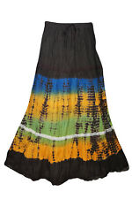 BOHO CHIC GYPSY HIPPIE TIE DYE MAXI SKIRT CRINKLE COTTON COLORFUL LONG SKIRTS