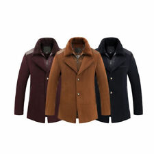 Mens Winter Wool Trench Coat Jacket Fur Collar Button Pea Coat Outwear