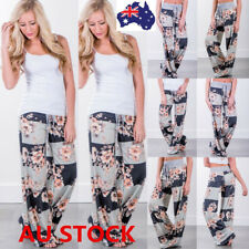 Women Boho Floral Stretch Long Pants Palazzo Baggy Wide Leg Casual Yoga Trousers
