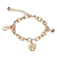 Stainless Steel Bracelets for Women Rose Gold Color Simple Style Number 5 Charm